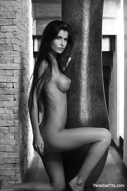 Бесплатные черно-белые порно фото в хорошем качестве, где брюнетка позирует на чердаке