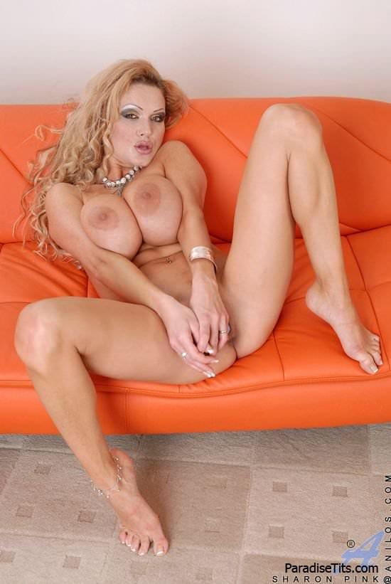 Страстная телочка с большими сиськами обнажается и дрочит на порно фото