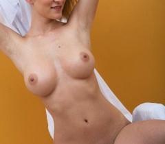 На фантастических порно фото восхитительная куколка с бритой пиздой демонстрирует прелести